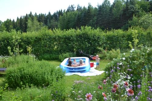 met zijn allen in het bad (je) in de tuin...